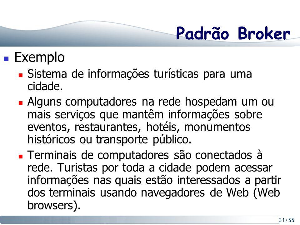31/55 Padrão Broker Exemplo Sistema de informações turísticas para uma cidade. Alguns computadores na rede hospedam um ou mais serviços que mantêm inf