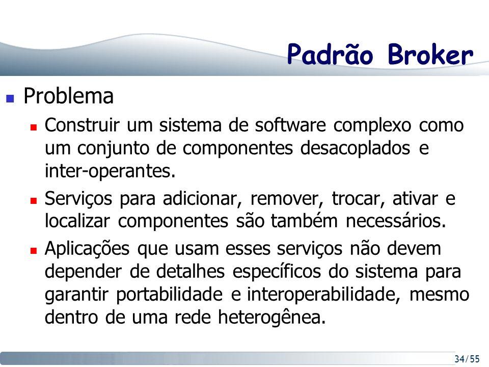 34/55 Padrão Broker Problema Construir um sistema de software complexo como um conjunto de componentes desacoplados e inter-operantes. Serviços para a