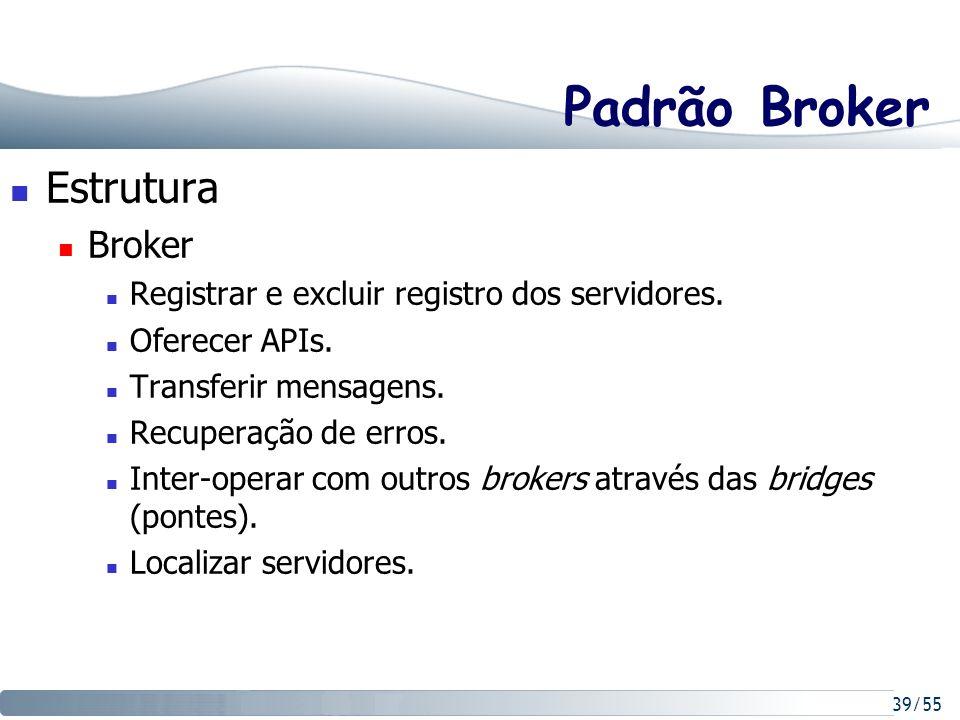 39/55 Padrão Broker Estrutura Broker Registrar e excluir registro dos servidores. Oferecer APIs. Transferir mensagens. Recuperação de erros. Inter-ope