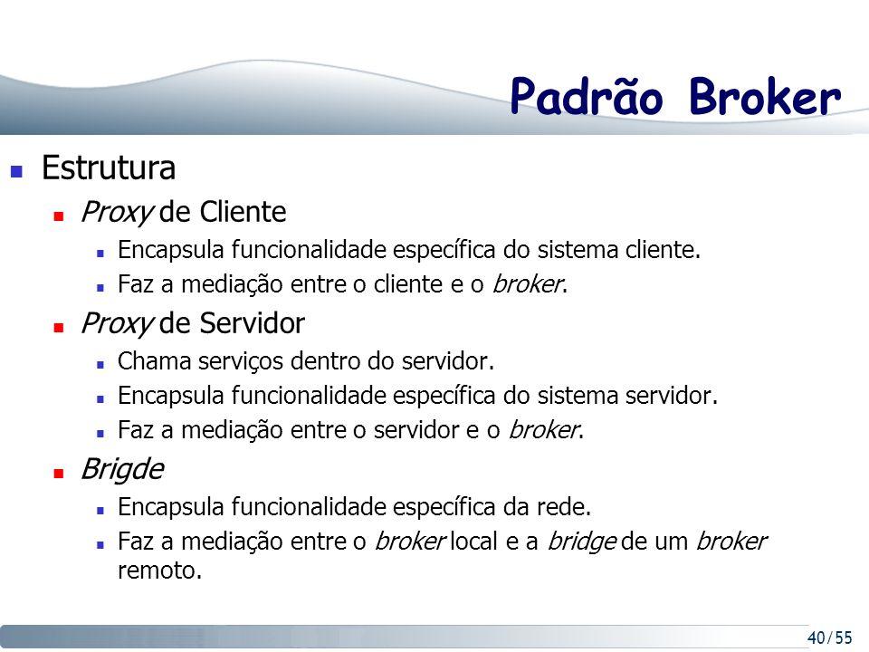 40/55 Padrão Broker Estrutura Proxy de Cliente Encapsula funcionalidade específica do sistema cliente. Faz a mediação entre o cliente e o broker. Prox