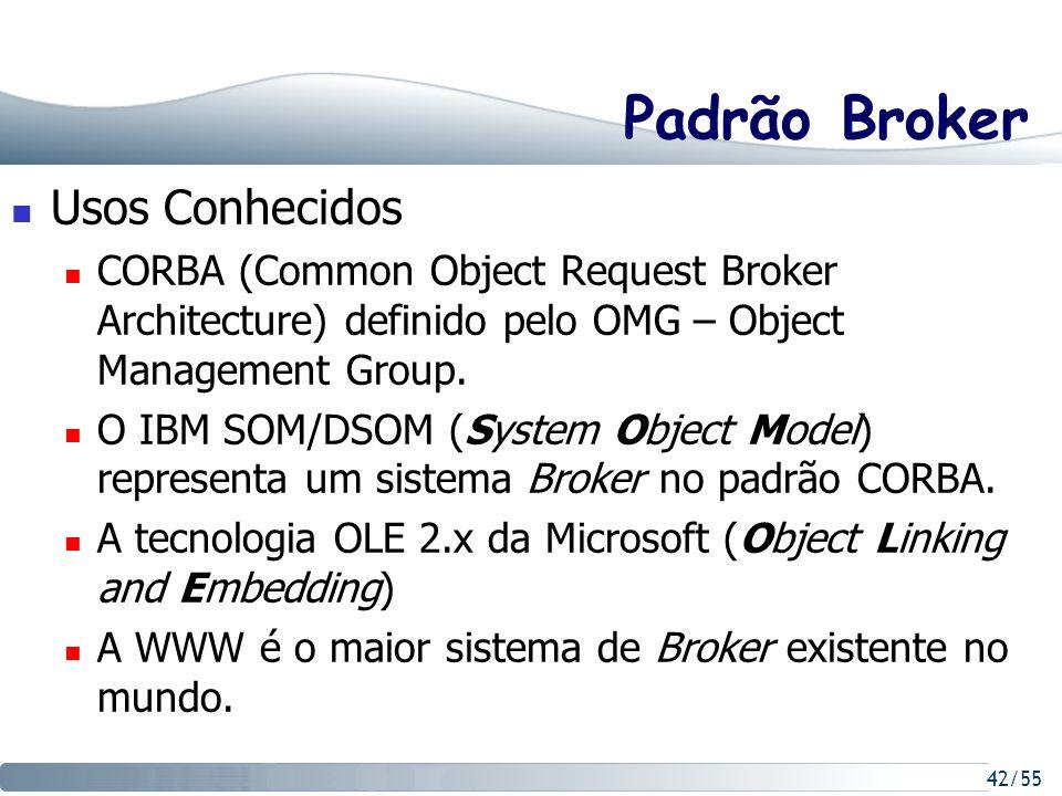 42/55 Padrão Broker Usos Conhecidos CORBA (Common Object Request Broker Architecture) definido pelo OMG – Object Management Group. O IBM SOM/DSOM (Sys