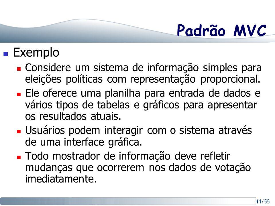 44/55 Padrão MVC Exemplo Considere um sistema de informação simples para eleições políticas com representação proporcional. Ele oferece uma planilha p