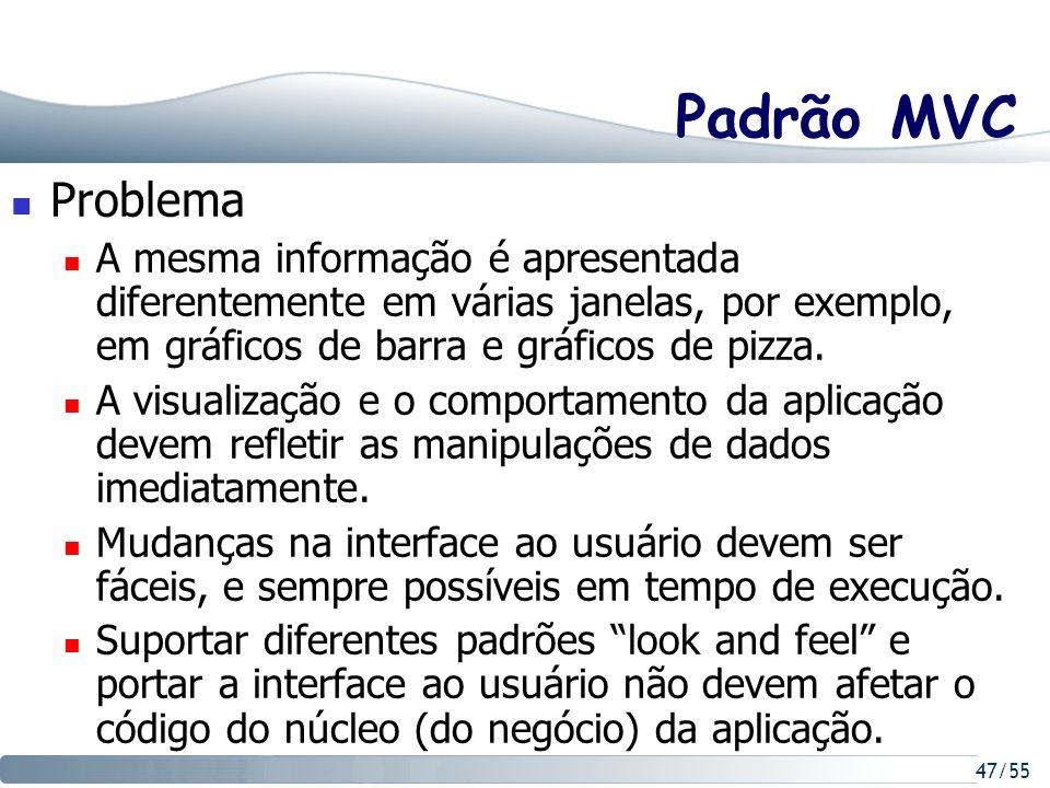 47/55 Padrão MVC Problema A mesma informação é apresentada diferentemente em várias janelas, por exemplo, em gráficos de barra e gráficos de pizza. A