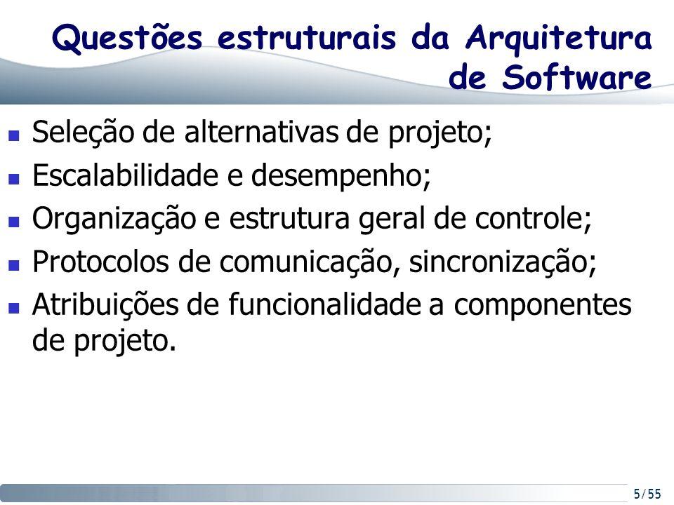 5/55 Questões estruturais da Arquitetura de Software Seleção de alternativas de projeto; Escalabilidade e desempenho; Organização e estrutura geral de