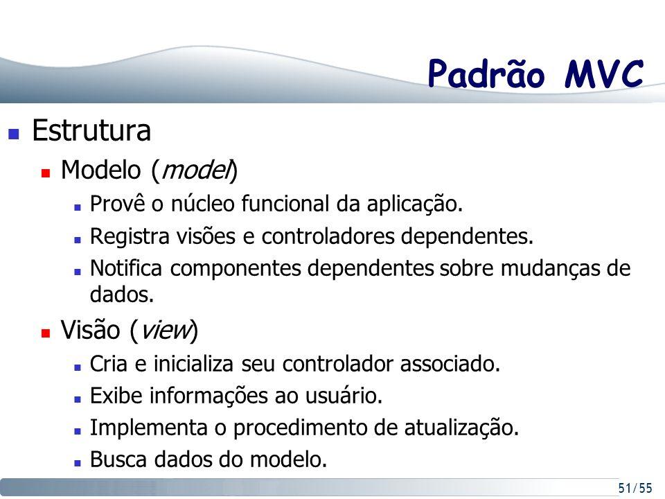 51/55 Padrão MVC Estrutura Modelo (model) Provê o núcleo funcional da aplicação. Registra visões e controladores dependentes. Notifica componentes dep