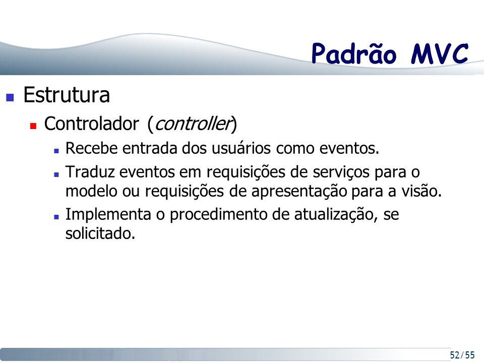 52/55 Padrão MVC Estrutura Controlador (controller) Recebe entrada dos usuários como eventos. Traduz eventos em requisições de serviços para o modelo