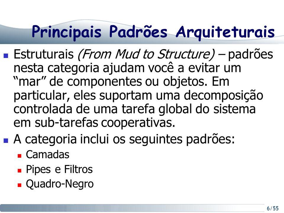 7/55 Principais Padrões Arquiteturais Sistemas Distribuídos – esta categoria compreende macro-soluções para sistemas baseados em distribuição.