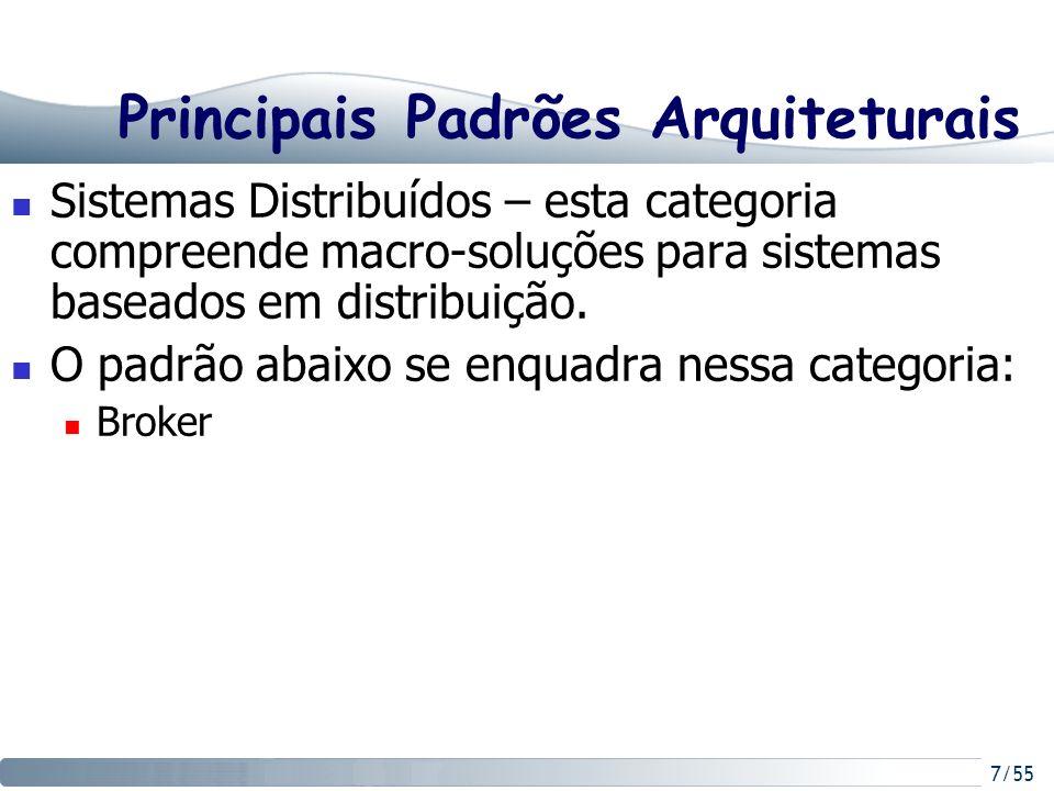 7/55 Principais Padrões Arquiteturais Sistemas Distribuídos – esta categoria compreende macro-soluções para sistemas baseados em distribuição. O padrã
