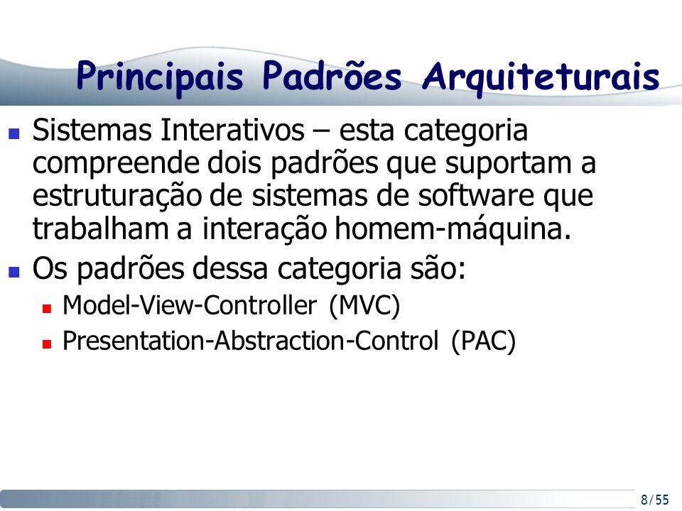 8/55 Principais Padrões Arquiteturais Sistemas Interativos – esta categoria compreende dois padrões que suportam a estruturação de sistemas de softwar