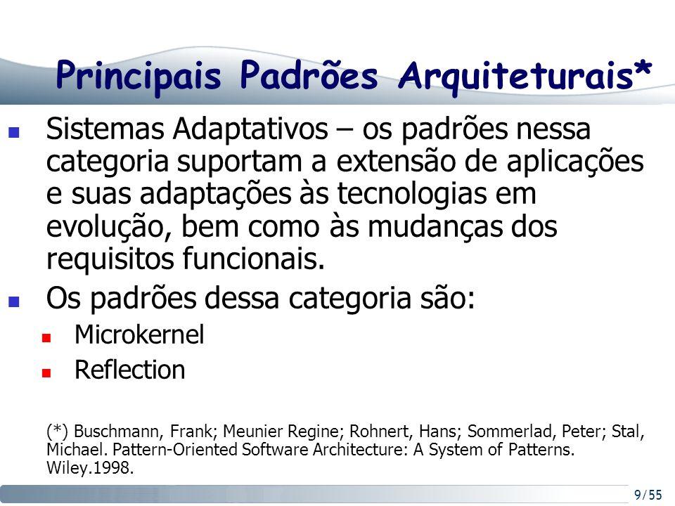 9/55 Principais Padrões Arquiteturais* Sistemas Adaptativos – os padrões nessa categoria suportam a extensão de aplicações e suas adaptações às tecnol