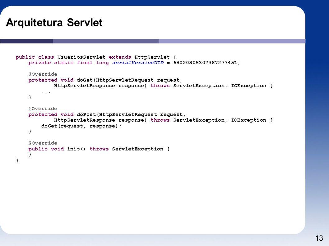 13 Arquitetura Servlet public class UsuariosServlet extends HttpServlet { private static final long serialVersionUID = 6802030530738727745L; @Override