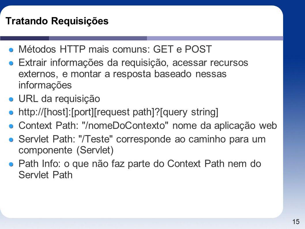 15 Tratando Requisições Métodos HTTP mais comuns: GET e POST Extrair informações da requisição, acessar recursos externos, e montar a resposta baseado