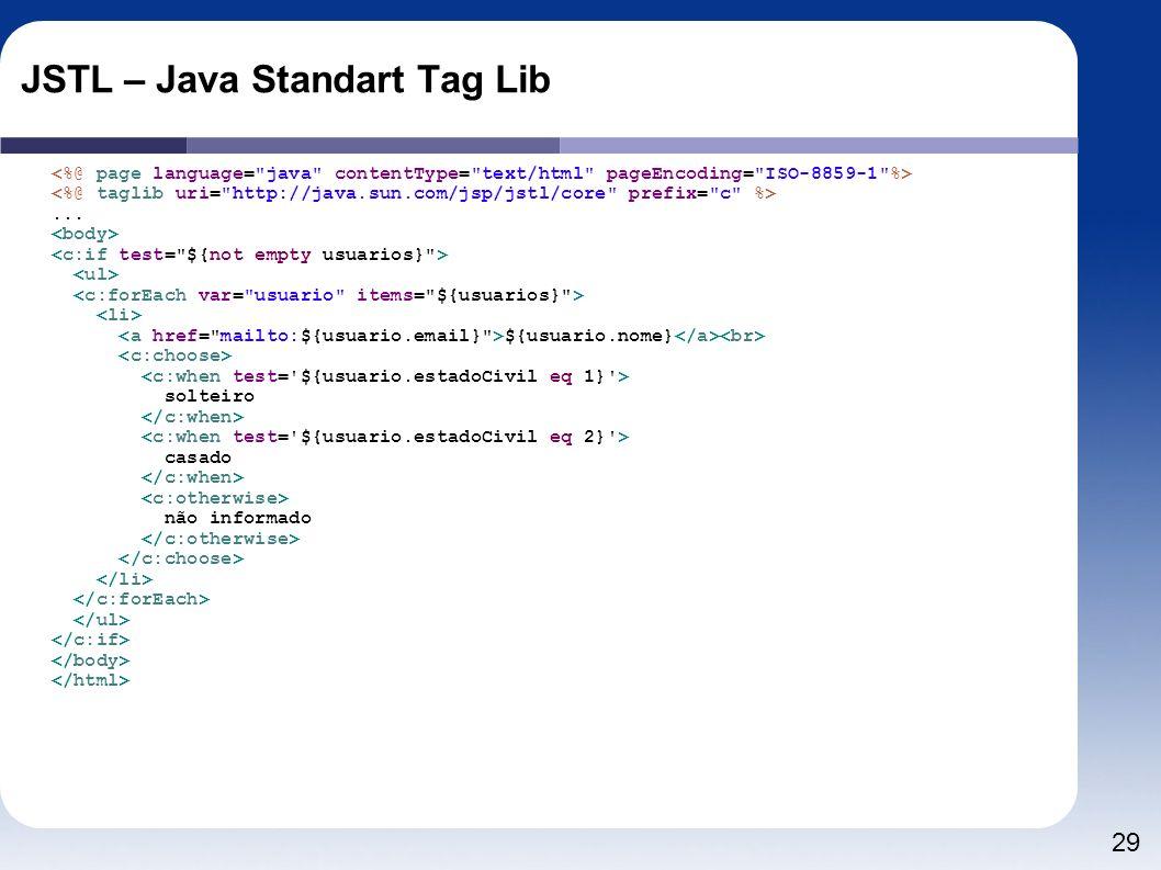 29 JSTL – Java Standart Tag Lib... ${usuario.nome} solteiro casado não informado