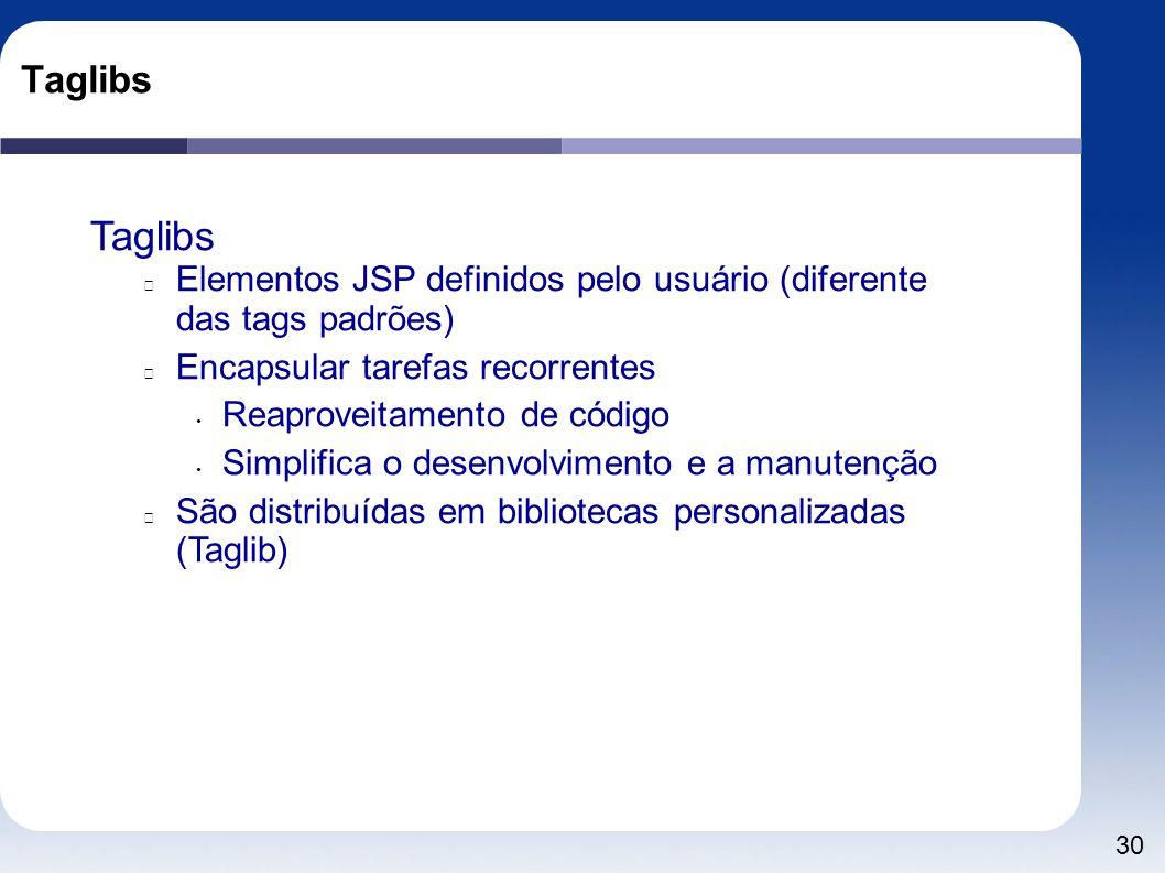 30 Taglibs Elementos JSP definidos pelo usuário (diferente das tags padrões) Encapsular tarefas recorrentes Reaproveitamento de código Simplifica o de