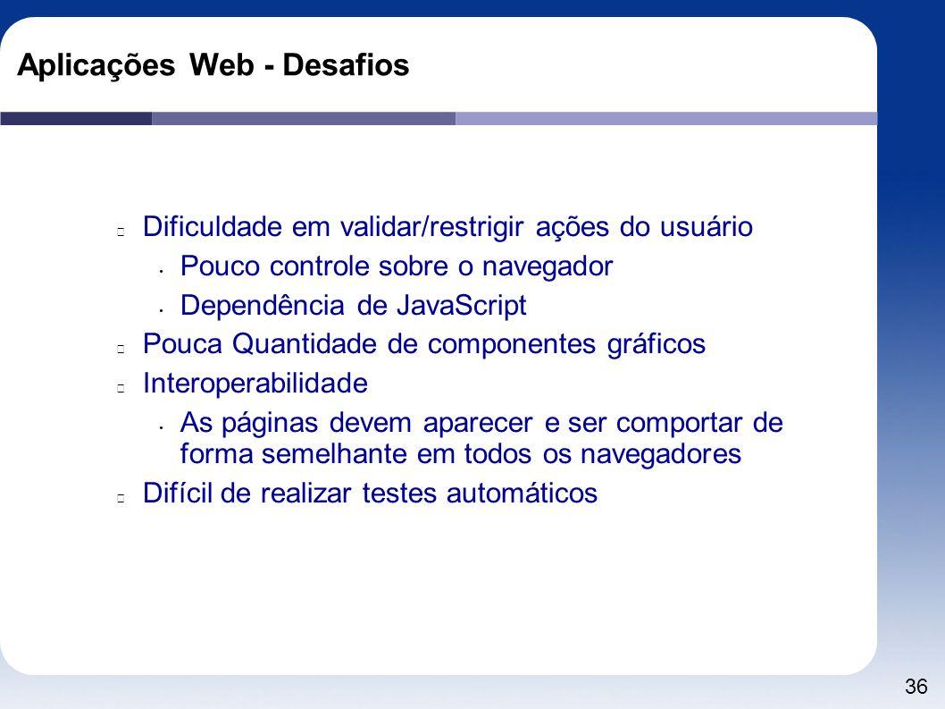 36 Aplicações Web - Desafios Dificuldade em validar/restrigir ações do usuário Pouco controle sobre o navegador Dependência de JavaScript Pouca Quanti