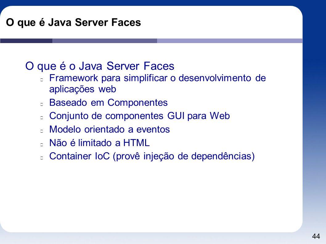 44 O que é Java Server Faces O que é o Java Server Faces Framework para simplificar o desenvolvimento de aplicações web Baseado em Componentes Conjunt