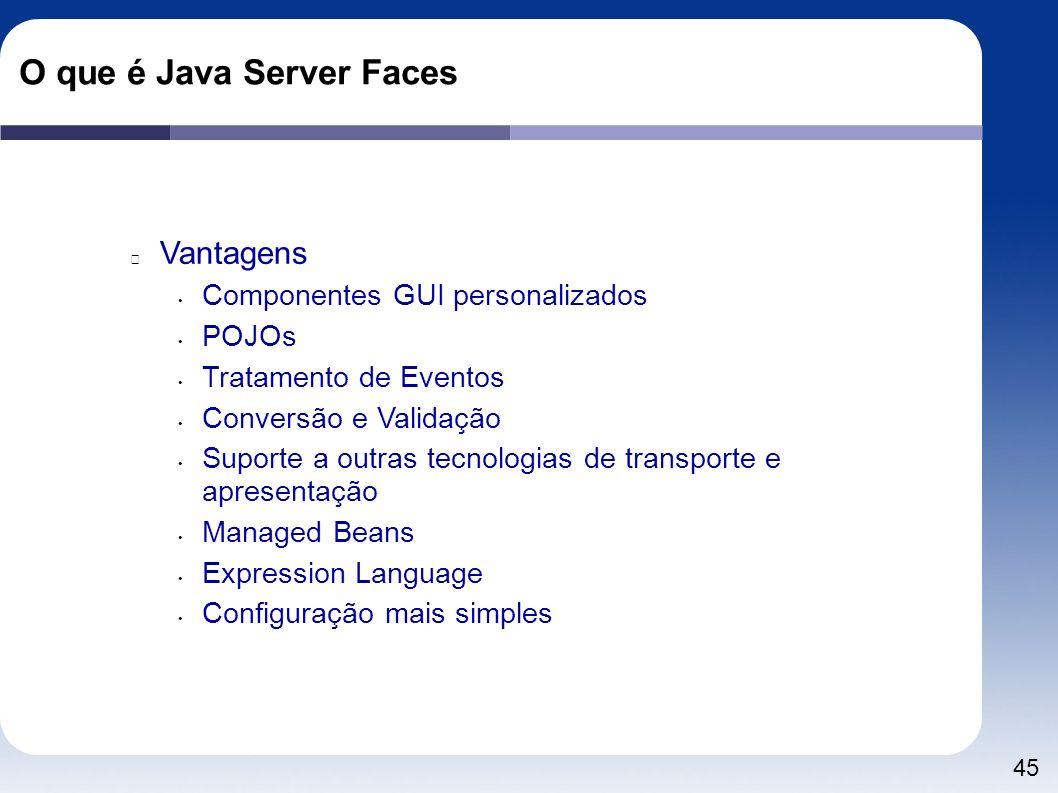 45 O que é Java Server Faces Vantagens Componentes GUI personalizados POJOs Tratamento de Eventos Conversão e Validação Suporte a outras tecnologias d