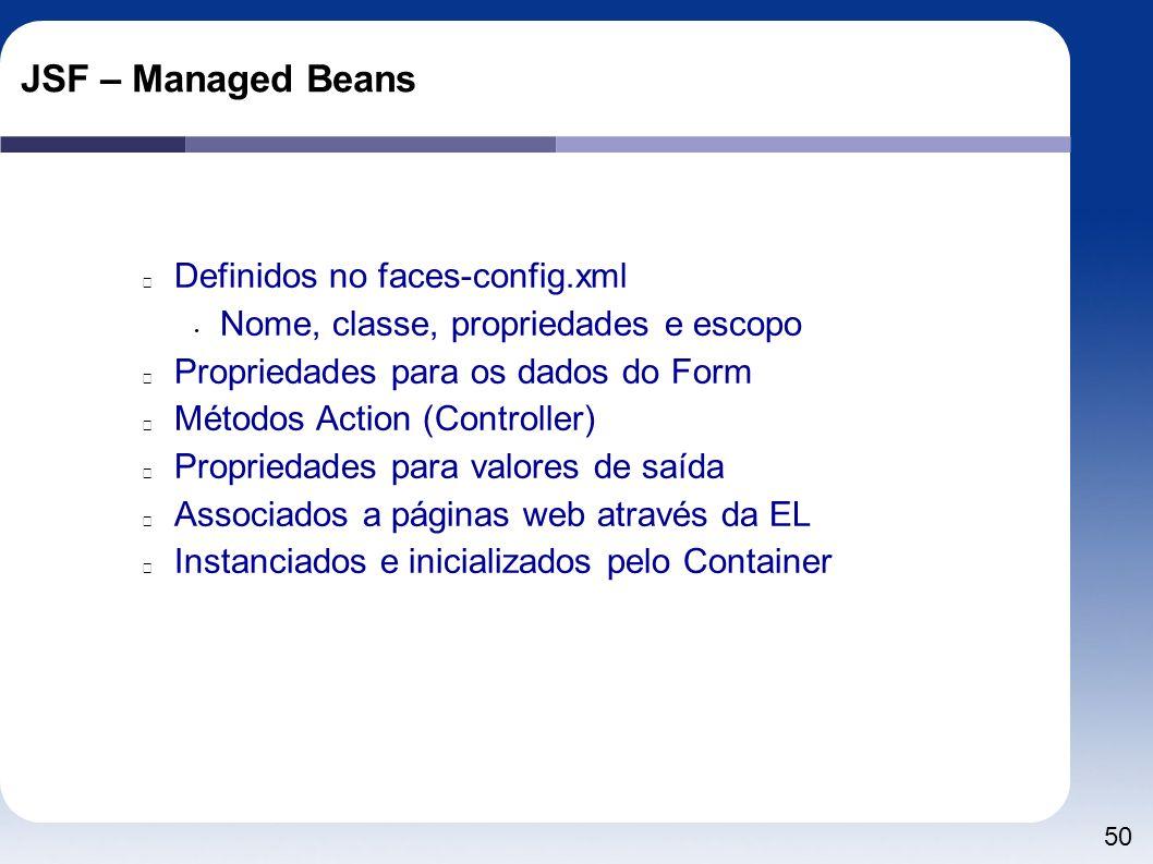 50 JSF – Managed Beans Definidos no faces-config.xml Nome, classe, propriedades e escopo Propriedades para os dados do Form Métodos Action (Controller