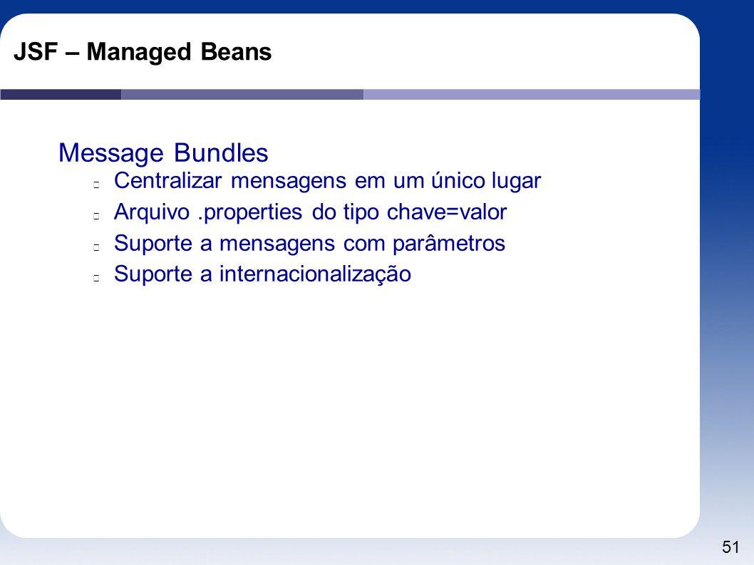 51 JSF – Managed Beans Message Bundles Centralizar mensagens em um único lugar Arquivo.properties do tipo chave=valor Suporte a mensagens com parâmetr