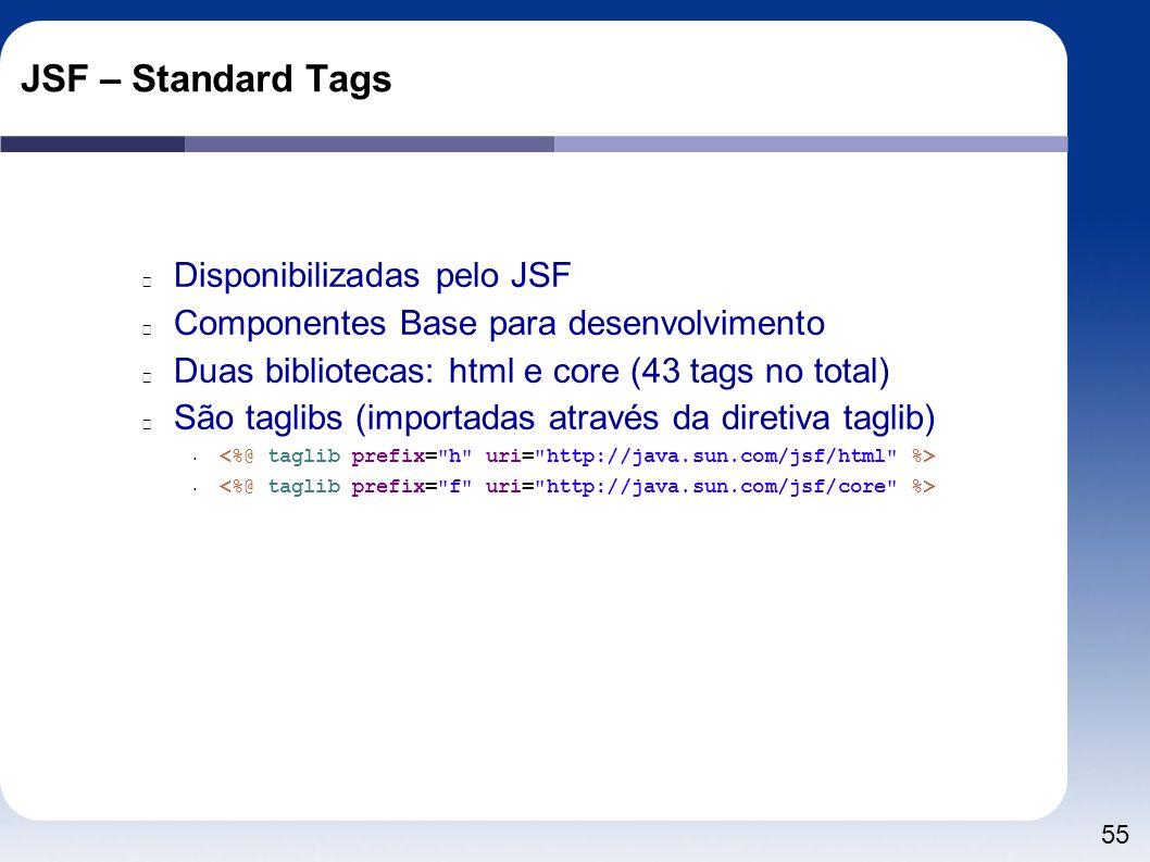 55 JSF – Standard Tags Disponibilizadas pelo JSF Componentes Base para desenvolvimento Duas bibliotecas: html e core (43 tags no total) São taglibs (i