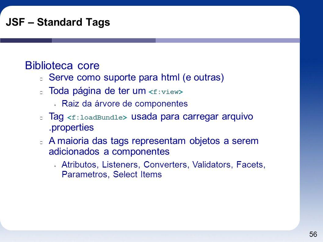 56 JSF – Standard Tags Biblioteca core Serve como suporte para html (e outras) Toda página de ter um Raiz da árvore de componentes Tag usada para carr
