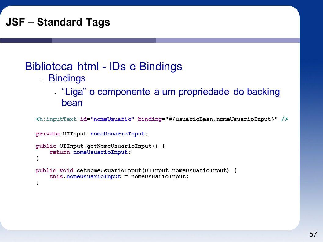 57 JSF – Standard Tags Biblioteca html - IDs e Bindings Bindings Liga o componente a um propriedade do backing bean private UIInput nomeUsuarioInput;