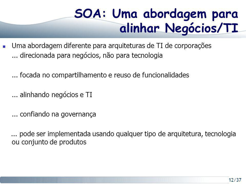 12/37 SOA: Uma abordagem para alinhar Negócios/TI Uma abordagem diferente para arquiteturas de TI de corporações...