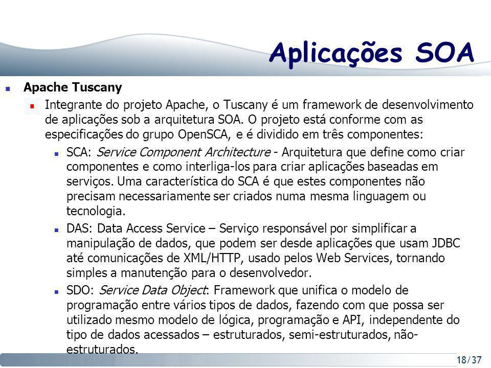 18/37 Aplicações SOA Apache Tuscany Integrante do projeto Apache, o Tuscany é um framework de desenvolvimento de aplicações sob a arquitetura SOA.