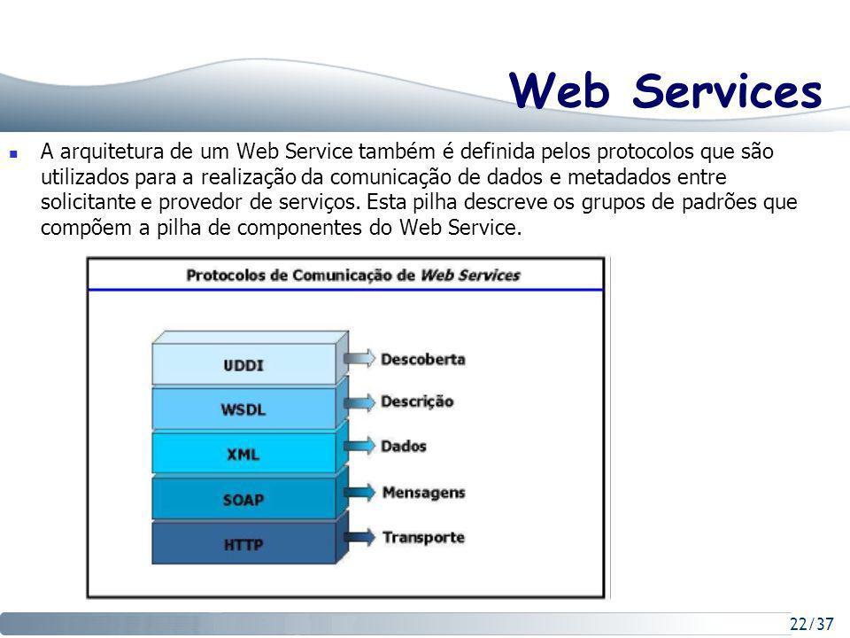 22/37 Web Services A arquitetura de um Web Service também é definida pelos protocolos que são utilizados para a realização da comunicação de dados e metadados entre solicitante e provedor de serviços.
