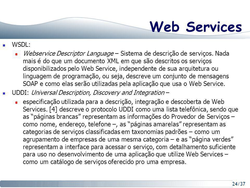 24/37 Web Services WSDL: Webservice Descriptor Language – Sistema de descrição de serviços.