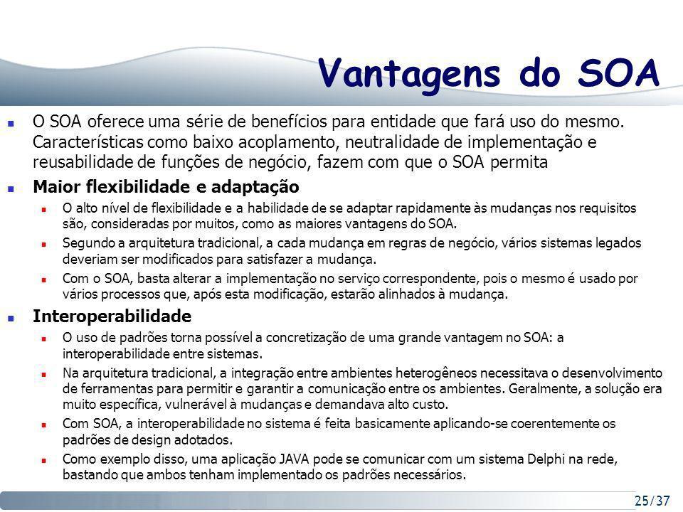 25/37 Vantagens do SOA O SOA oferece uma série de benefícios para entidade que fará uso do mesmo.