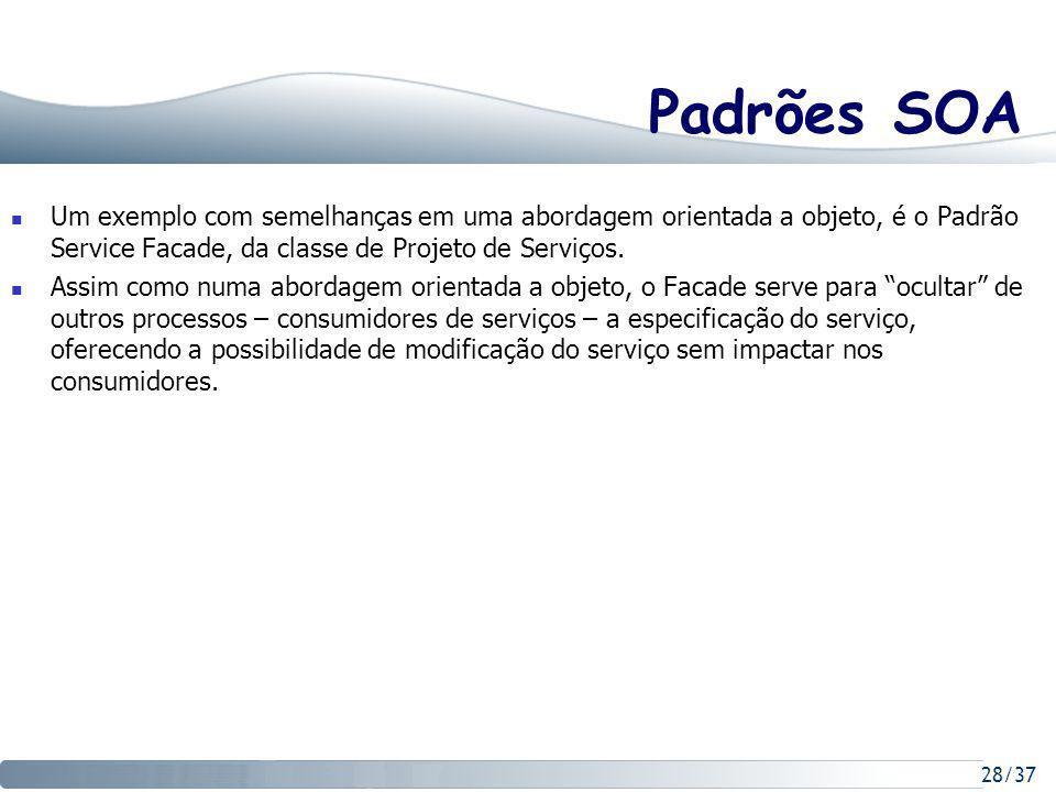 28/37 Padrões SOA Um exemplo com semelhanças em uma abordagem orientada a objeto, é o Padrão Service Facade, da classe de Projeto de Serviços.