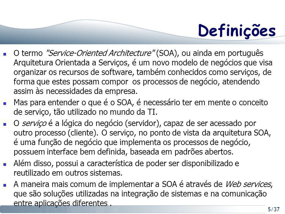 5/37 Definições O termo Service-Oriented Architecture (SOA), ou ainda em português Arquitetura Orientada a Serviços, é um novo modelo de negócios que visa organizar os recursos de software, também conhecidos como serviços, de forma que estes possam compor os processos de negócio, atendendo assim às necessidades da empresa.