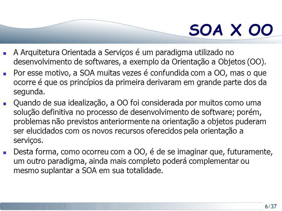 6/37 SOA X OO A Arquitetura Orientada a Serviços é um paradigma utilizado no desenvolvimento de softwares, a exemplo da Orientação a Objetos (OO).