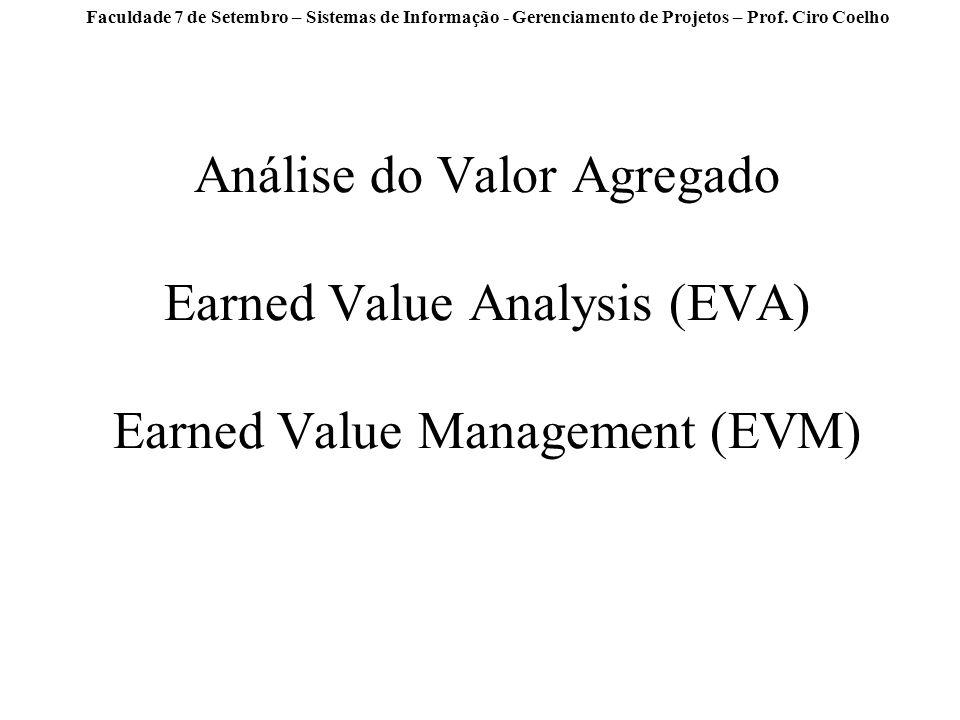 Faculdade 7 de Setembro – Sistemas de Informação - Gerenciamento de Projetos – Prof. Ciro Coelho Análise do Valor Agregado Earned Value Analysis (EVA)