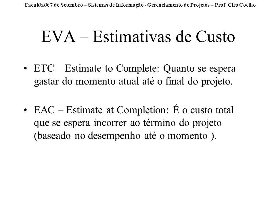 Faculdade 7 de Setembro – Sistemas de Informação - Gerenciamento de Projetos – Prof. Ciro Coelho EVA – Estimativas de Custo ETC – Estimate to Complete