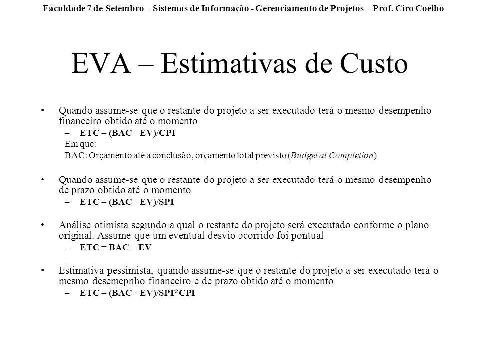 Faculdade 7 de Setembro – Sistemas de Informação - Gerenciamento de Projetos – Prof. Ciro Coelho EVA – Estimativas de Custo Quando assume-se que o res