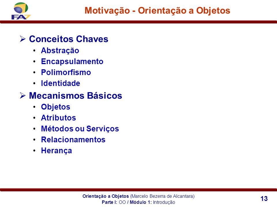Orientação a Objetos (Marcelo Bezerra de Alcantara) 13 Motivação - Orientação a Objetos Conceitos Chaves Abstração Encapsulamento Polimorfismo Identid