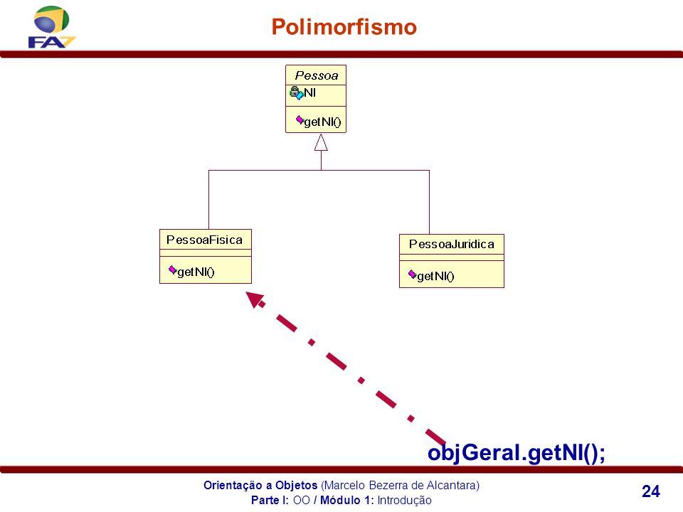 Orientação a Objetos (Marcelo Bezerra de Alcantara) 24 Polimorfismo objGeral.getNI(); Parte I: OO / Módulo 1: Introdução