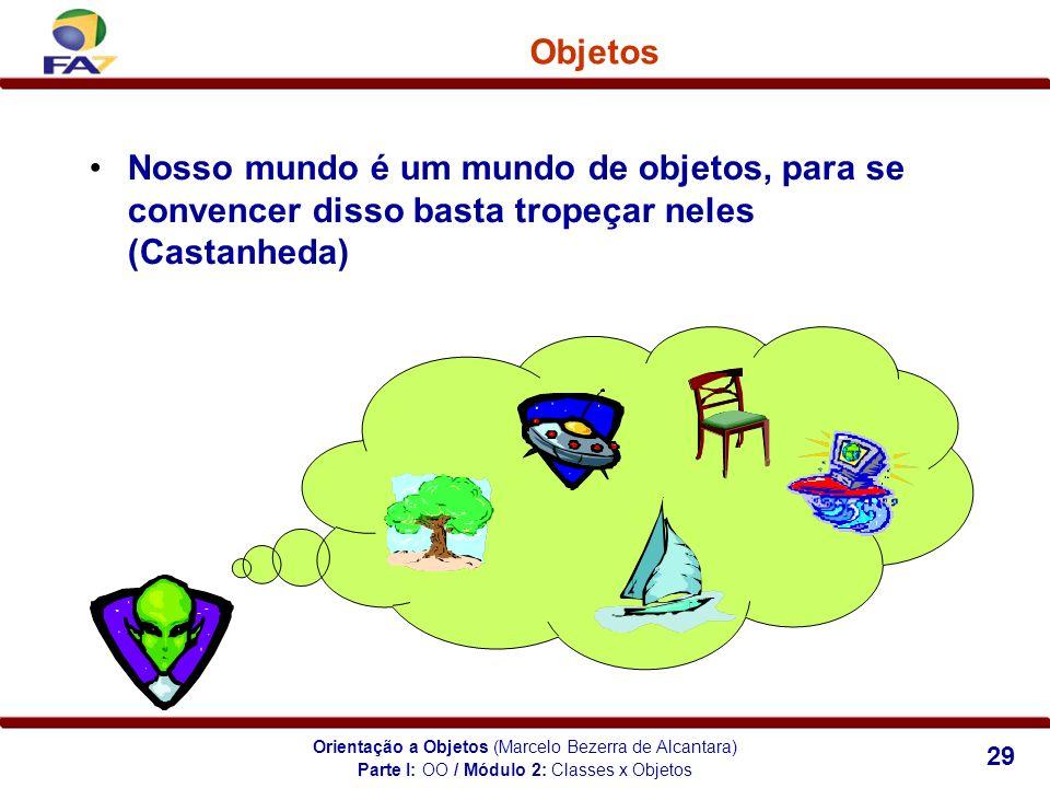 Orientação a Objetos (Marcelo Bezerra de Alcantara) 29 Objetos Nosso mundo é um mundo de objetos, para se convencer disso basta tropeçar neles (Castan