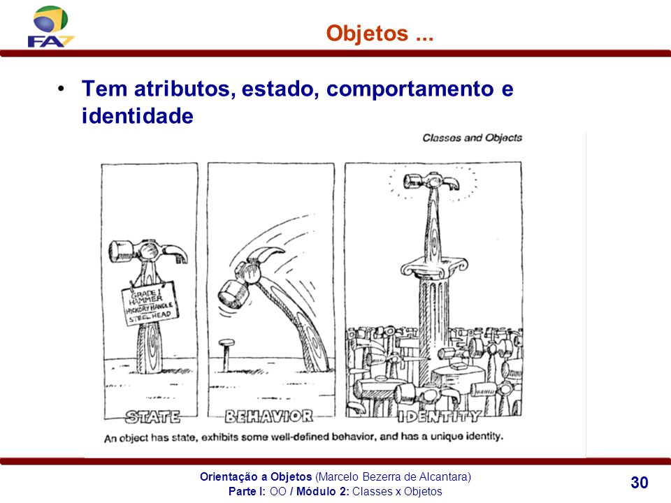 Orientação a Objetos (Marcelo Bezerra de Alcantara) 30 Tem atributos, estado, comportamento e identidade Objetos... Parte I: OO / Módulo 2: Classes x