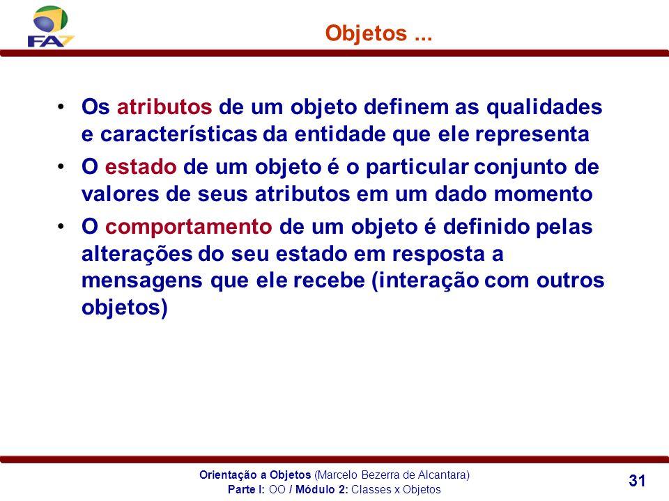 Orientação a Objetos (Marcelo Bezerra de Alcantara) 31 Objetos... Os atributos de um objeto definem as qualidades e características da entidade que el