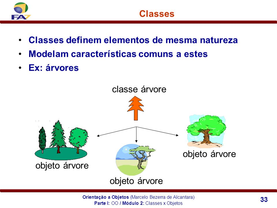 Orientação a Objetos (Marcelo Bezerra de Alcantara) 33 Classes Classes definem elementos de mesma natureza Modelam características comuns a estes Ex: