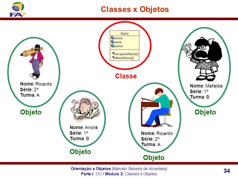 Orientação a Objetos (Marcelo Bezerra de Alcantara) 34 Classes x Objetos Parte I: OO / Módulo 2: Classes x Objetos Nome: Mafalda Série: 1ª Turma: B No
