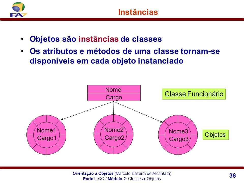 Orientação a Objetos (Marcelo Bezerra de Alcantara) 36 Instâncias Objetos são instâncias de classes Os atributos e métodos de uma classe tornam-se dis