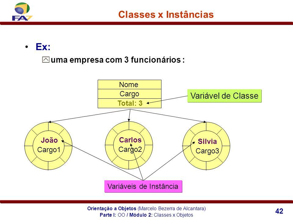 Orientação a Objetos (Marcelo Bezerra de Alcantara) 42 Classes x Instâncias Ex: uma empresa com 3 funcionários : Variável de Classe Nome Cargo Variáve