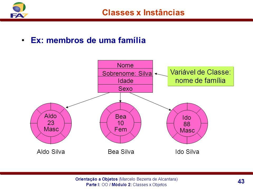 Orientação a Objetos (Marcelo Bezerra de Alcantara) 43 Classes x Instâncias Ex: membros de uma família Sobrenome: Silva Idade Aldo 23 Sexo Masc Bea 10