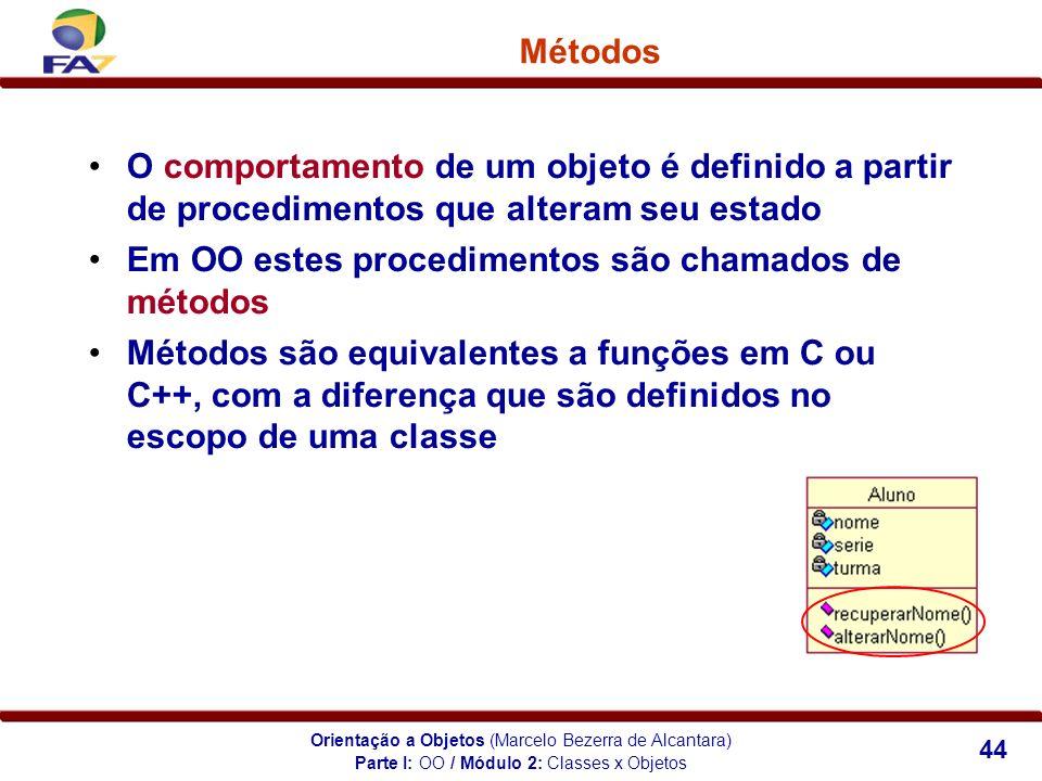 Orientação a Objetos (Marcelo Bezerra de Alcantara) 44 Métodos O comportamento de um objeto é definido a partir de procedimentos que alteram seu estad