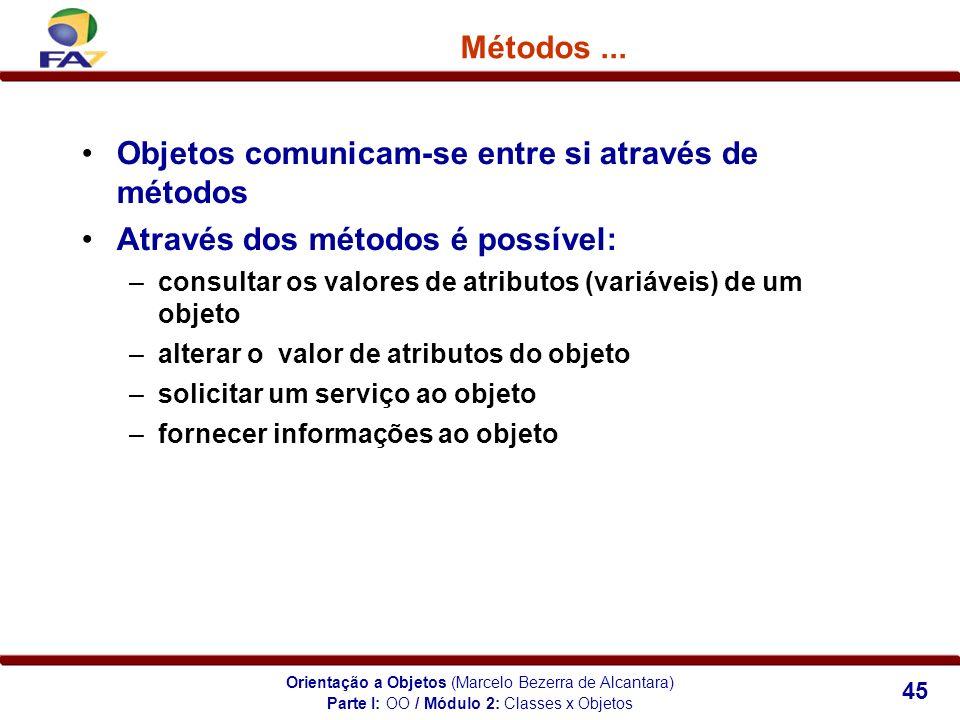 Orientação a Objetos (Marcelo Bezerra de Alcantara) 45 Métodos... Objetos comunicam-se entre si através de métodos Através dos métodos é possível: –co