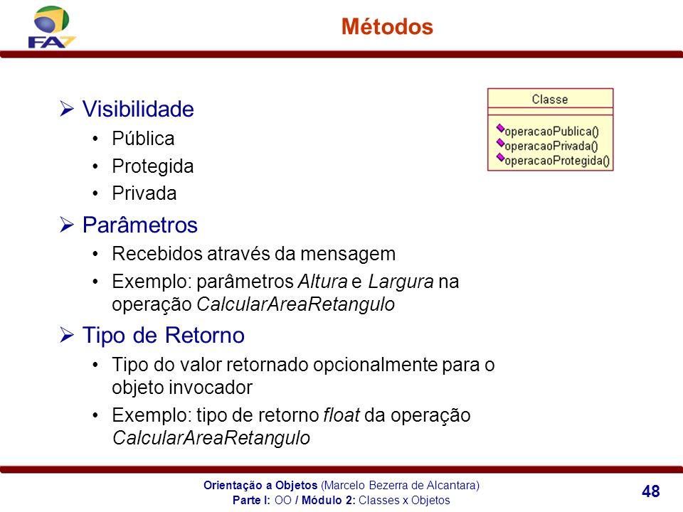 Orientação a Objetos (Marcelo Bezerra de Alcantara) 48 Métodos Visibilidade Pública Protegida Privada Parâmetros Recebidos através da mensagem Exemplo